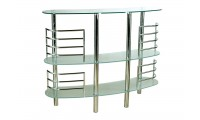 Contemporary Tempered Glass Steel Bar Counter 90982CL