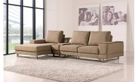 Adele Sectional Sofa in Beige Fabric with Speakers
