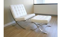 Barcelona Style Chair and Ottoman in White Leather