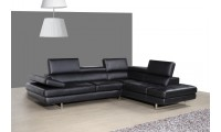 A761 Sectional Sofa in Black Leather
