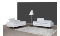 A973 White Italian Leather Sofa Loveseat Living Room Set