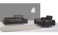 A973 Contemporary Living Room Set in Grey Leather