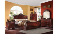 Abramson Sleigh Bedroom Set Traditional Cherry Finish
