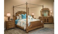 AICO Excursions Canopy Bedroom Set in Caramel Cashmere