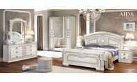 Aida Italian Bedroom Set in White and Silver Finish