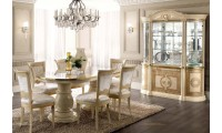 Aida Italian Dining Room Set in Beige and Gold