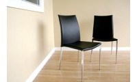 Benton Contemporary Black Leather Dining Chairs - Set of 2