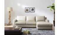 Alexis Sofa Bed Sectional in White Italian Leather
