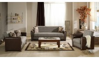 Alfa Living Room Set in Redeyef Brown with Sofa Bed