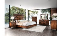 Amarantha Bedroom Set in Dark Oak and Flowers Design