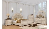 Ammanford Bedroom Set in Antique Whitewash and Sleigh Bed