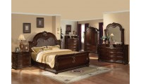 Dark Cherry Anondale Collection Marble Top Bedroom Set