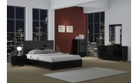 Aria Modern Black Bedroom Set with Platform Storage Bed