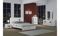 Aria White Modern Bedroom Set with Platform Storage Bed