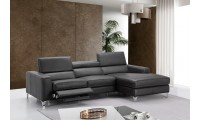 Ariana Power Reclining Sectional Sofa in Dark Grey Leather
