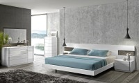 Armora Modern Bedroom Set in White Lacquer Finish