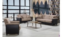 Aspen Living Room Set in Milano Vizon Fabric with Sofa Bed