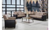 Aspen Living Room Set in Milano Vizon Fabric with Sofa Bed