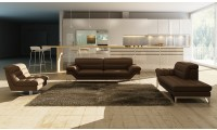 Astro Modern Living Room Set in Chocolate Leather