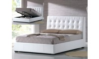 AtHome USA Athens Storage Bed in White Leather