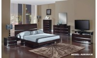 Aurora Modern Bedroom Set in Wenge Lacquer Finish