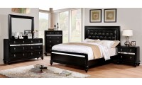 Avior Bedroom Set in Black with Tufted Headboard