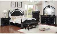 Azha Bedroom Set in Black with Poster Bed