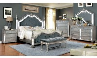 Azha Bedroom Set in Silver with Poster Bed