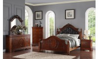 B498 Brown Oak Bedroom Set Leather Headboard