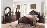 B518 Cappuccino Bedroom Set Leather Headboard