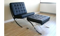 Barcelona Style Chair and Ottoman in Black Leather