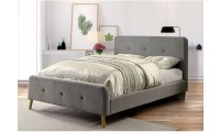 Barney Platform Bed in Gray Fabric