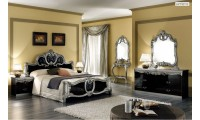 Barocco Italian Bedroom Set in Black and Silver Lacquer