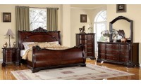 Bellefonte Sleigh Bedroom Set in Brown Cherry