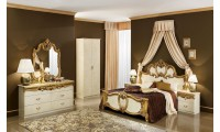 Barocco Italian Bedroom Set in Ivory and Gold Lacquer