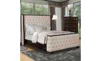 Camille Bedroom Set in Brown with Beige Bed