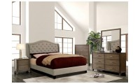 Carly Bedroom Set in Warm Gray with Fabric Bed