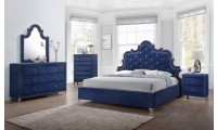 Caroline Bedroom Set in Blue Color by Meridian Furniture