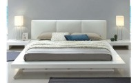 Christie Bedroom Set in White with Leatherette Headboard