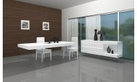 Cloud Contemporary Dining Room Set in White Finish and Glass
