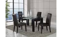 D646DT Tempered Glass Top Table Brown Leather Chairs