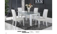 D648DT Tempered Glass Top Table White Leather Chairs