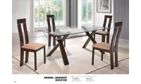 Glass Top Table Modern Brown D6846DT Dining Room Set