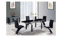 D88DT Dining Room Set with Black Glass Table Black Z Chairs