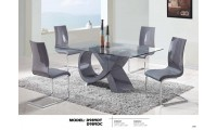 D989DT Modern Glass Top Brown Dining Room Set