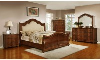 Davina Sleigh Bedroom Set in Cherry Finish by Homelegance