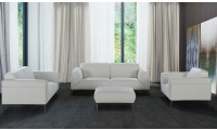 J&M Davos Contemporary Living Room Set in White Leather