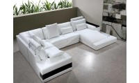 Diamond Modern White Leather Sectional Sofa