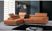 Divani Casa Citad Sectional Sofa in Orange Leather