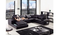 Divani Casa Diamond Large Sectional Sofa in Black Leather
